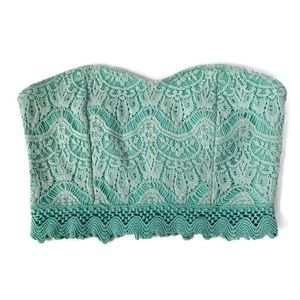 Solemio | Turquoise Lace Crop Top Small N25